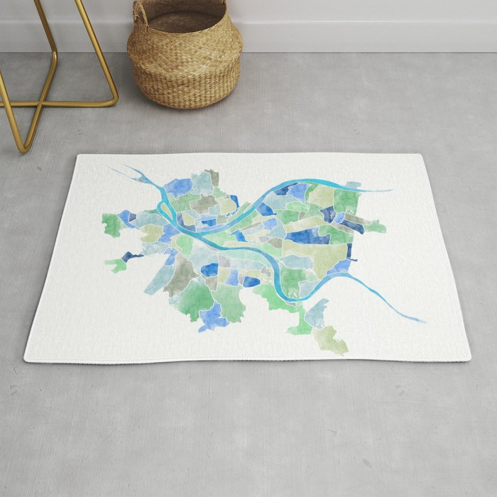 Pittsburgh Neighborhood Map Rug