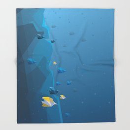 Coral reef fishes abstract minimalistic illustration. Underwater life Throw Blanket