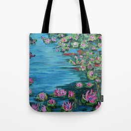 Lily Pond, Impressionism Painting, Pond Flowers Tote Bag