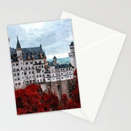 The Castle of Mad King Ludwig, Autumn, Neuschwanstein Castle, Bavaria, Germany landscape painting Stationery Cards