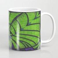 lime green Mugs featuring Lime Green Flock by Sarah J Bierman