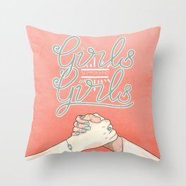 Girls Supporting Girls Intersectional Feminism Throw Pillow