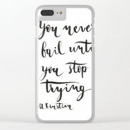 Einstein Calligraphy quote Clear iPhone Case