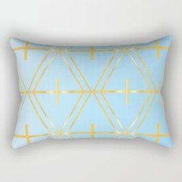 Golden Blue Fretwork Rectangular Pillow