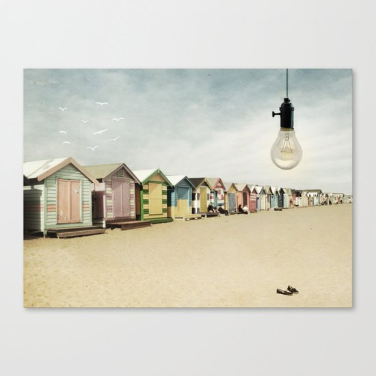 lights on bathing boxes Canvas Print
