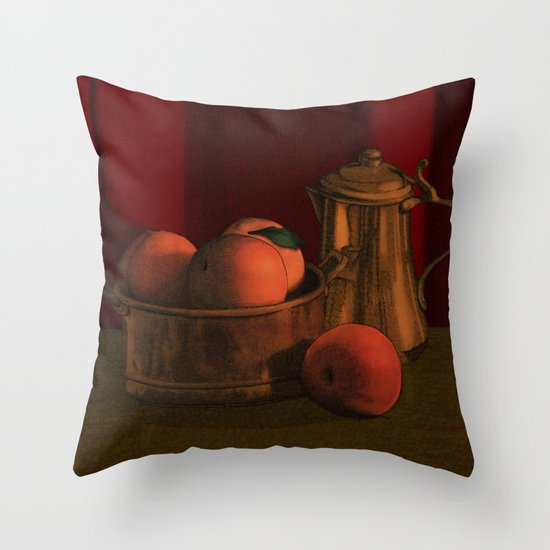 Still life with peaches Throw Pillow