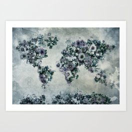 world map floral black and white Art Print