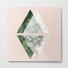 Geometric Triangles | Tropical and Marble Metal Print