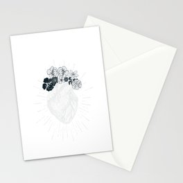 Retro Floral Anatomical Human Heart product for women Stationery Cards