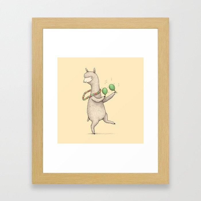 Alpaca on Maracas Framed Art Print