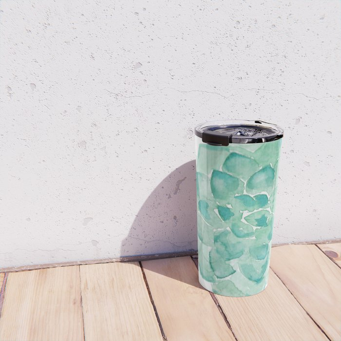 Watercolor Succulent print in seafoam green Travel Mug