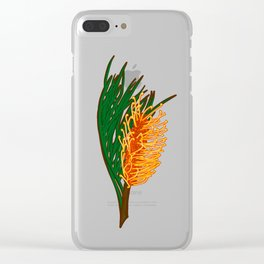 Australian Native Floral Illustration - Beautiful Banksia Flower Clear iPhone Case
