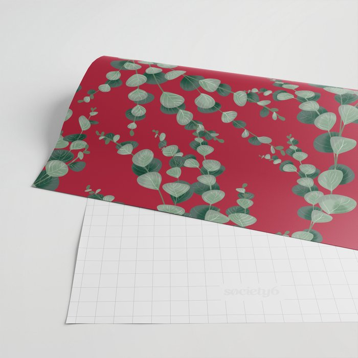 Eucalyptus leaves in red Wrapping Paper