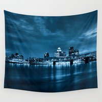 kentucky Wall Tapestries featuring Skyline of Louisville Kentucky by ThePhotoGuyDarren