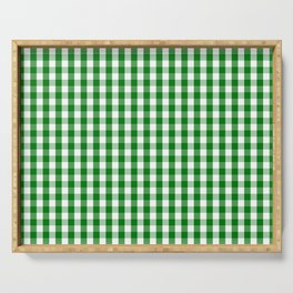 Christmas Green Gingham Check Serving Tray