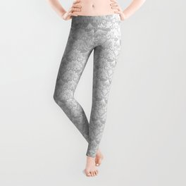 Stegosaurus Lace - White / Silver Leggings