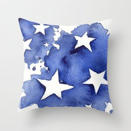 Stars Abstract Blue Watercolor Geometric Painting Throw Pillow
