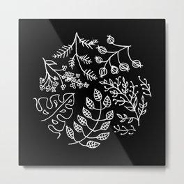 Floral Wildflower Wreath Circular Illustration Metal Print