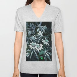 Dark Teal Temple of Flora Blue Passion Flowers Unisex V-Neck