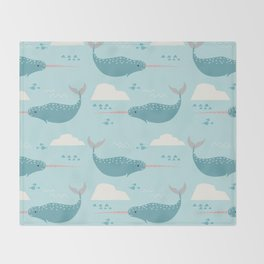 Narwhal blue Throw Blanket