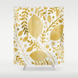 Branches and leaves - yellow Shower Curtain
