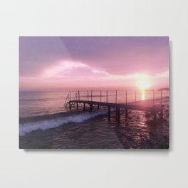 On the Beach at Sunset Metal Print