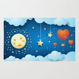 Valentine night with full moon Rug