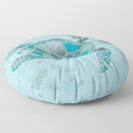 Glamour Aqua Turquoise Turtle Underwater Scenery Floor Pillow