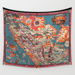 Old New York City Pictorial Map (1925) Vintage Manhattan Illustrative Atlas Wall Tapestry