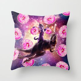 Warrior Space Cat On Dinosaur Unicorn - Donut Throw Pillow