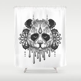 Blacksilver Panda Spirit Shower Curtain