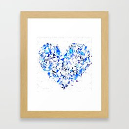 blue heart shape abstract with white abstract background Framed Art Print