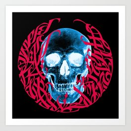 Gothic Calligraphy on Skull saying Always Hungry Art Print
