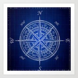 Nautical Compass, Blue Print, Patent Art, Beach Art, Coastal Art  Art Print