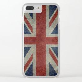England's Union Jack, Dark Vintage 3:5 scale Clear iPhone Case
