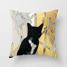Stone sober #blackcatappreciationday Throw Pillow