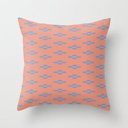 Southwestern Coyote Track Symbols in Peach + Dusty Blue Throw Pillow