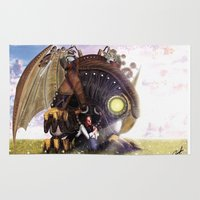 bioshock infinite Area & Throw Rugs featuring Bioshock Infinite: The SongBird by GIOdesign