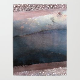 Rose Gold Blush Pink & Blue Watercolor Poster