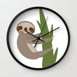 Three-toed sloth on green branch on white background Wall Clock