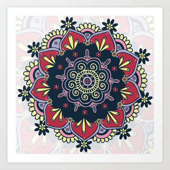 Bright & Bold Red Yellow Pink Purple Bohemian Mandala Art Print