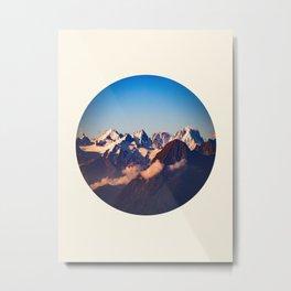 Himalayan Snow Mountains Round Photo Metal Print