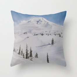 Snowy Mount Hood Throw Pillow