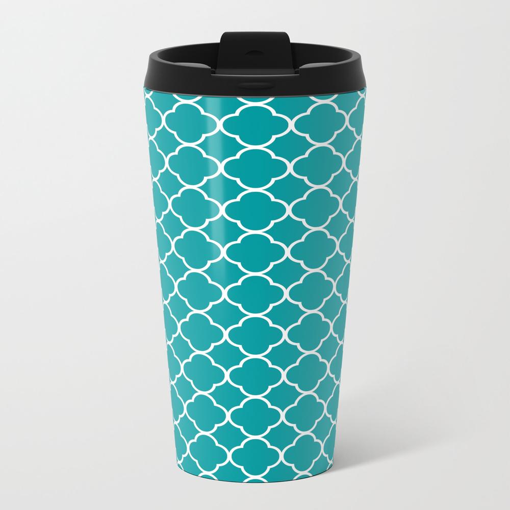 Clover Quatrefoil Pattern: Teal Travel Mug TRM8942505