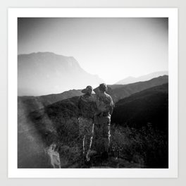 """Love on the Horizon"" Holga black and white double exposure Art Print"
