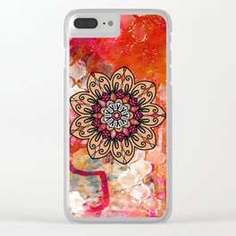 Warm Colored Paint Mandala Clear iPhone Case