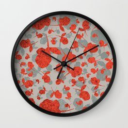 Red and Gray Floral Pattern Wall Clock