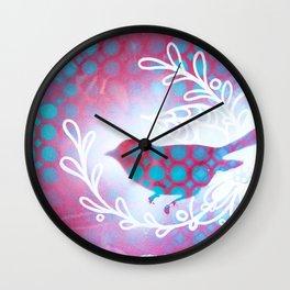 Blue and Purple little birdy Wall Clock