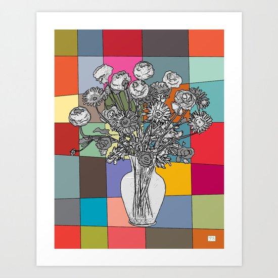 Spring Flower Vase Black & White on Mid Century Palette Background Art Print