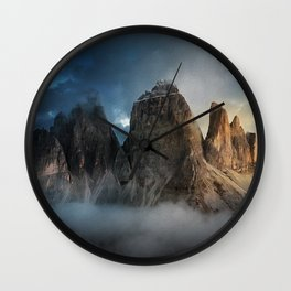 Italian mountain peak tre cime di lavaredo on morning sun at Dawn Wall Clock